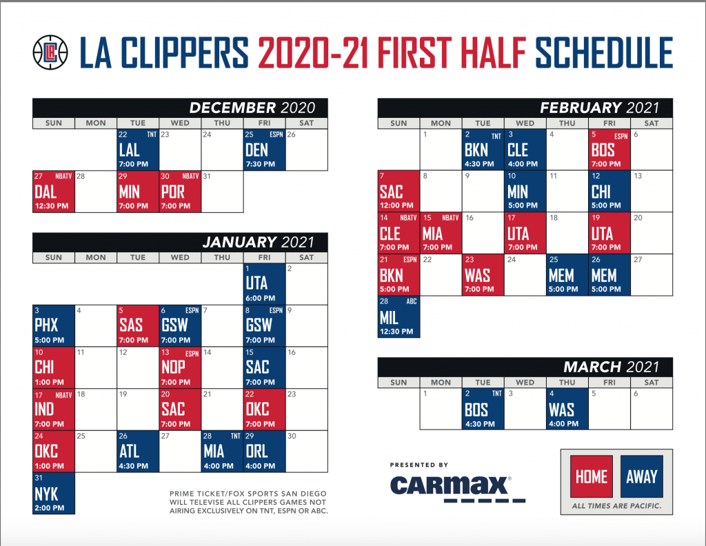 Clippers 2021 Schedule Details 213hoops