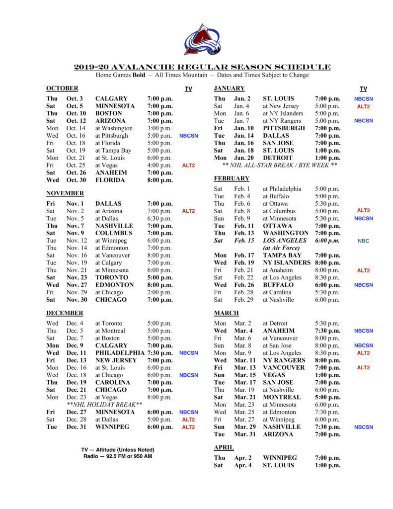 Colorado Avalanche Printable Schedule