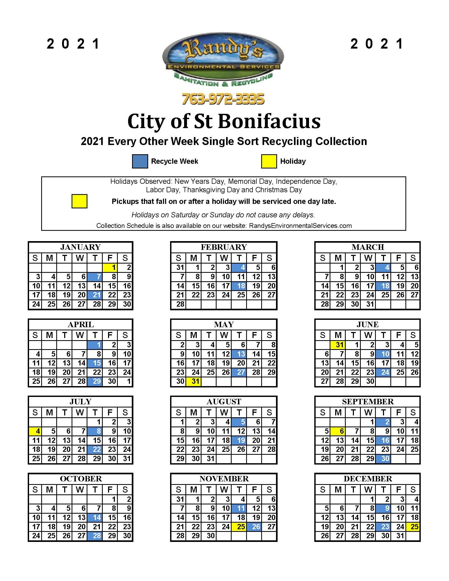 Create Your Recycle Schedule 2021 Get Your Calendar