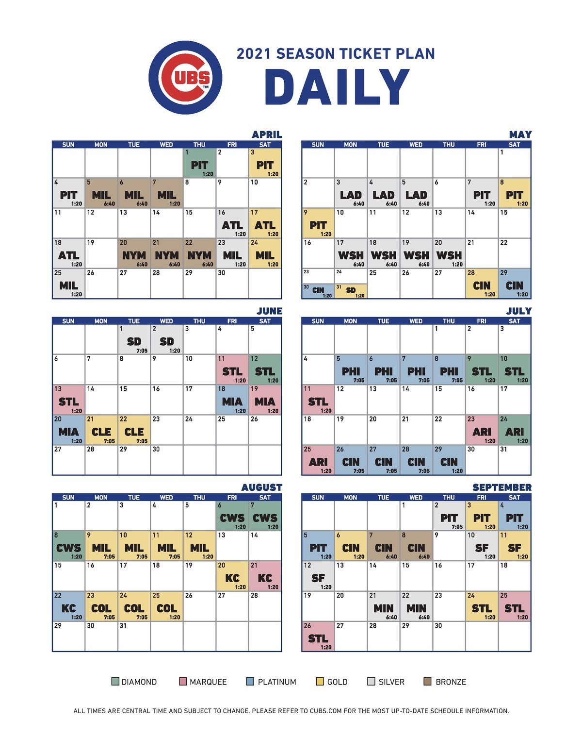 Cubs Announce Tentative 2021 Home Game Times And Ticket