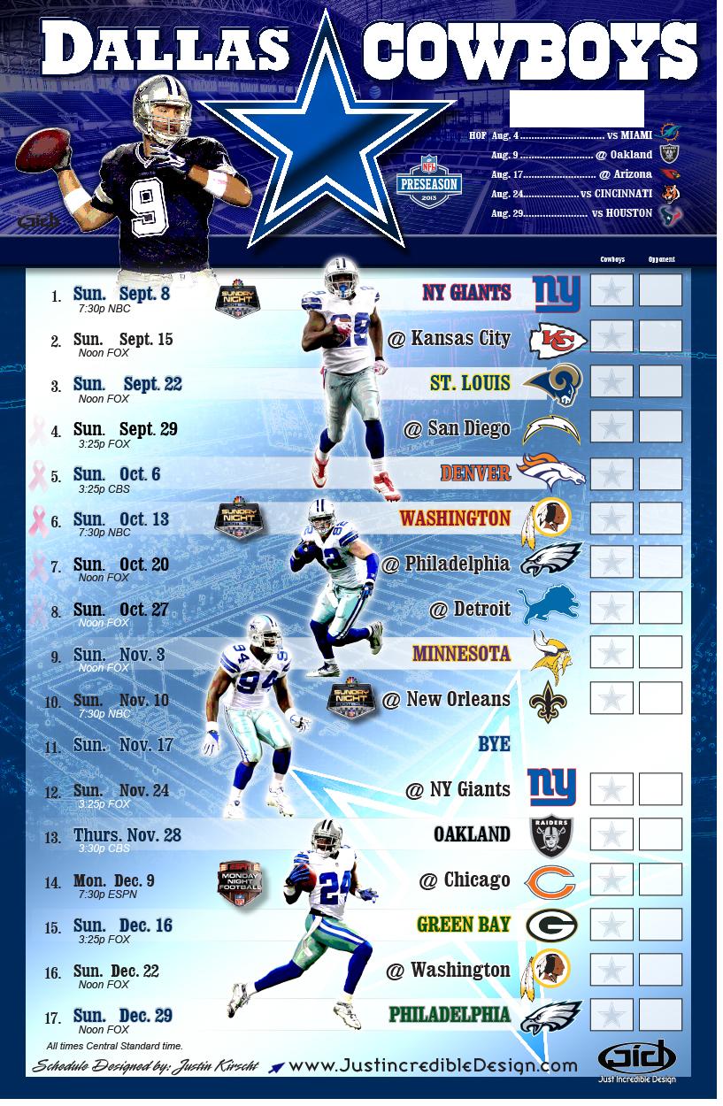 Dallas Cowboys Schedule 2014 Printable PDF Dallas
