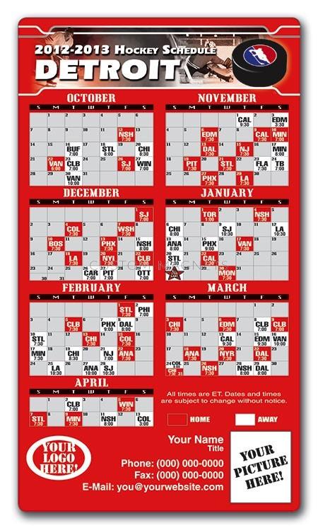 Detroit Red Wings Hockey Schedule Magnets 4 X 7 Custom