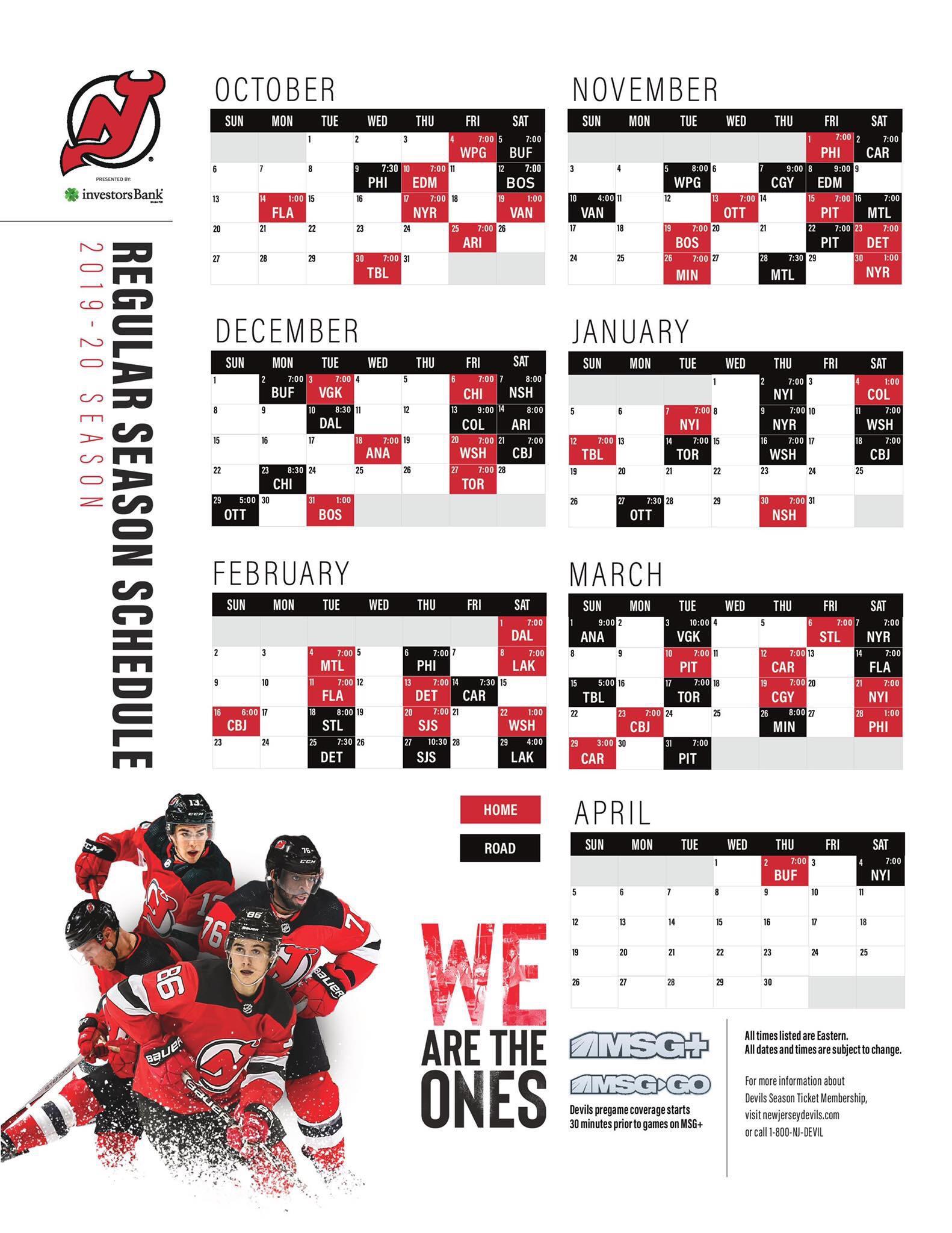 Devils 2019 20 Schedule Released Devils