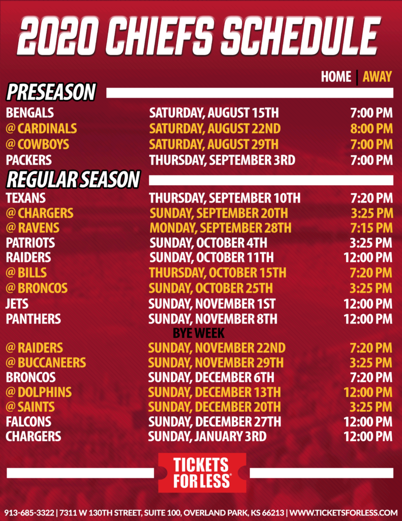 FINAL Chiefs 2020 Printable Schedule Kansas City Chiefs