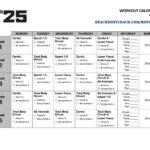 Focus T25 Workout Calendar Ejercicios Workout Fitness