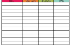 Free Printable Bill Payment Schedule Room Surf