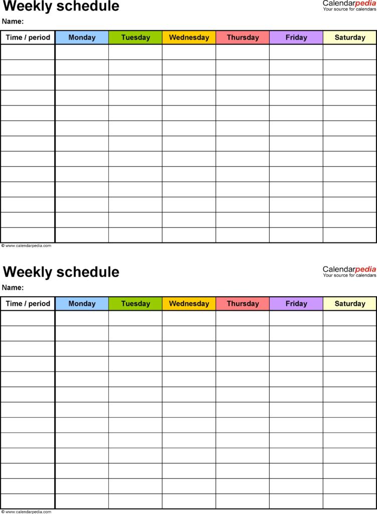 Free Printable Blank Employee Schedules Calendar