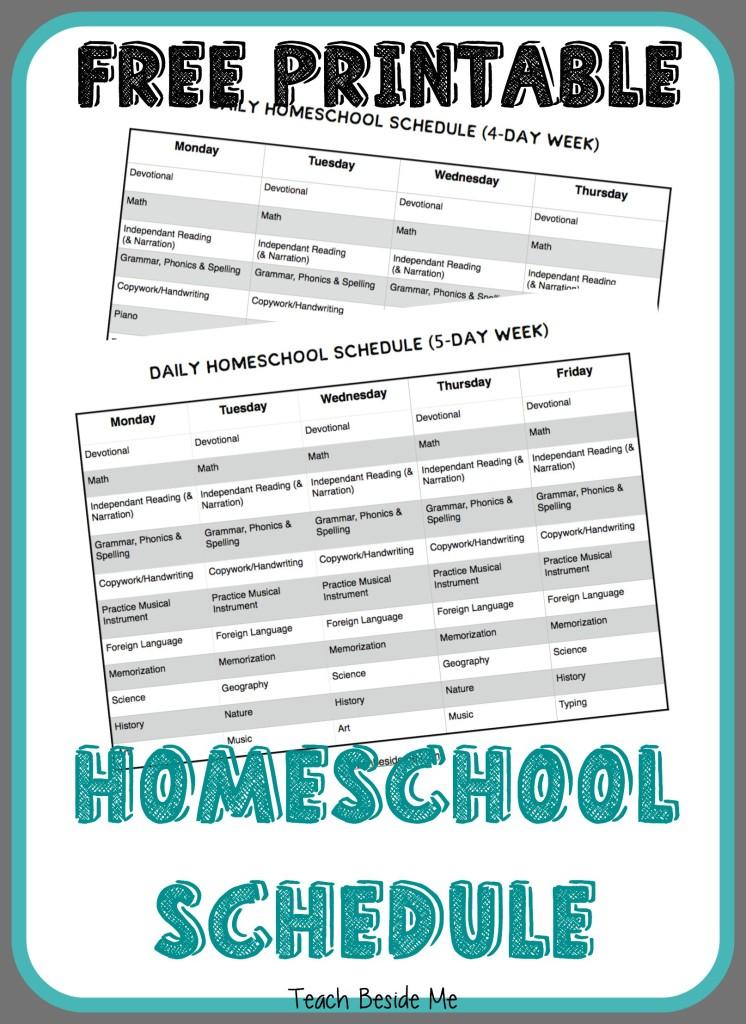 FREE Printable Homeschool Schedule