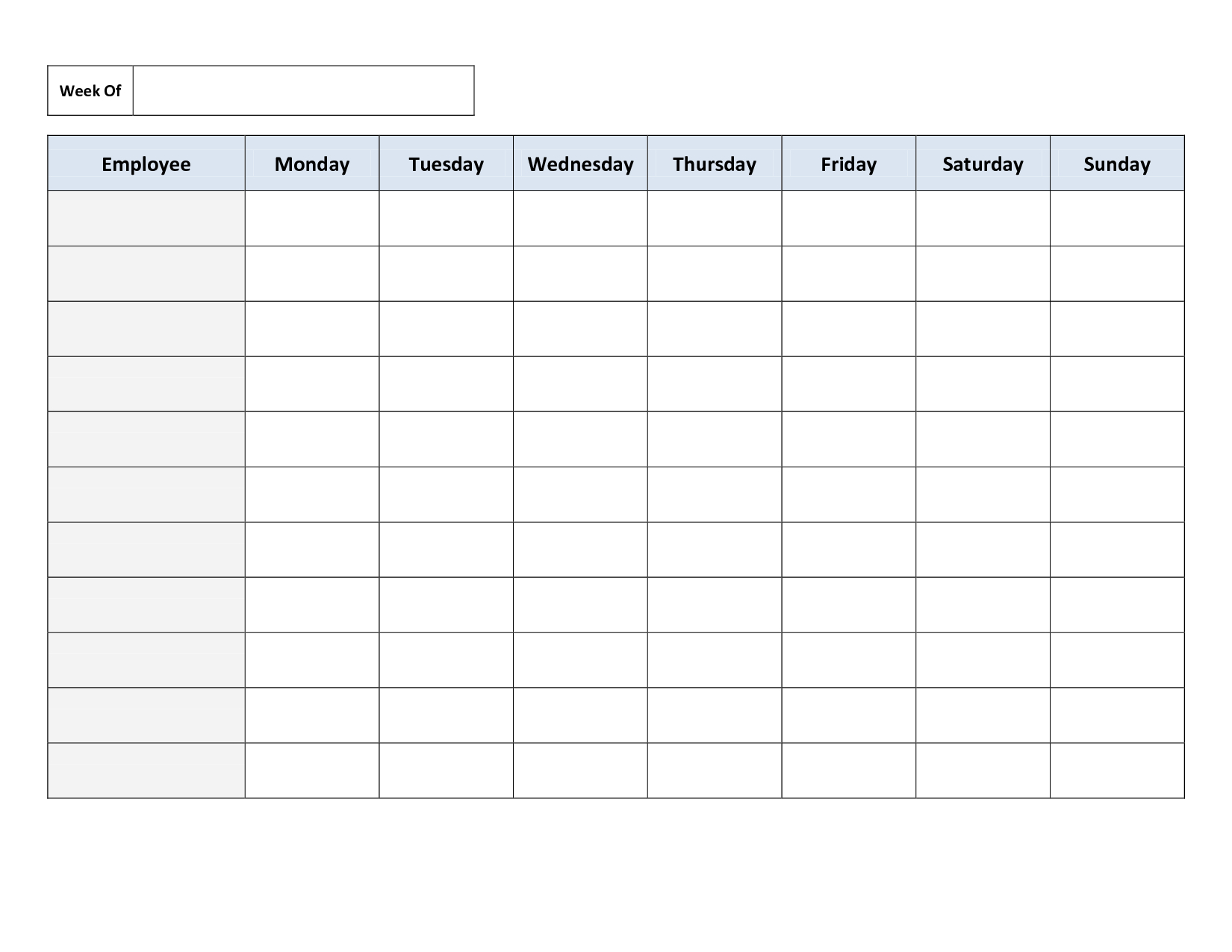 Free Printable Monthly Work Schedule Template Free Printable
