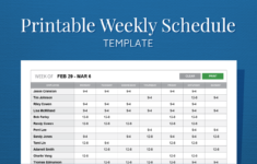 Free Printable Weekly Work Schedule Template For Employee