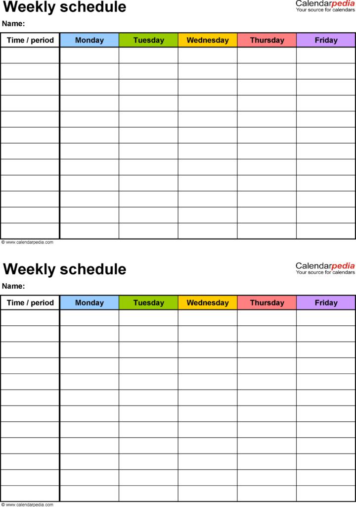 Free Printable Work Schedule Maker Free Printable