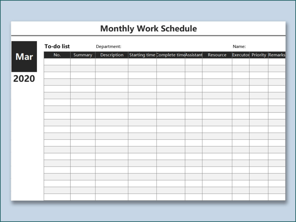 Free Printable Work Schedules Monthly Calendar Template 2020
