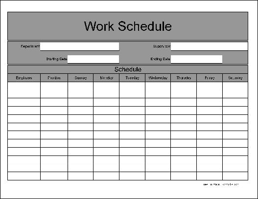 Free Wide Row Weekly Work Schedule From Formville