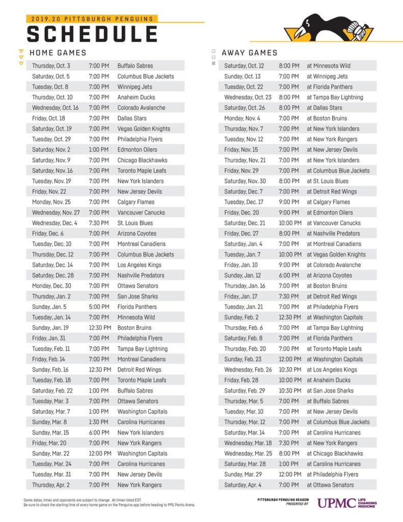 GDT Penguins 2019 2020 Schedule Start Planning Your