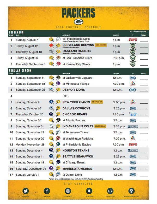 Green Bay Packers On Twitter Get Your Printable 2016