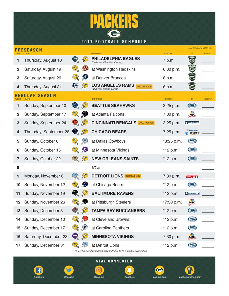Green Bay Packers On Twitter Print Your 2017 Packers