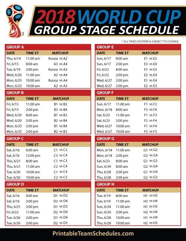 Group Stage Schedule 2018 Print Printableteamsche