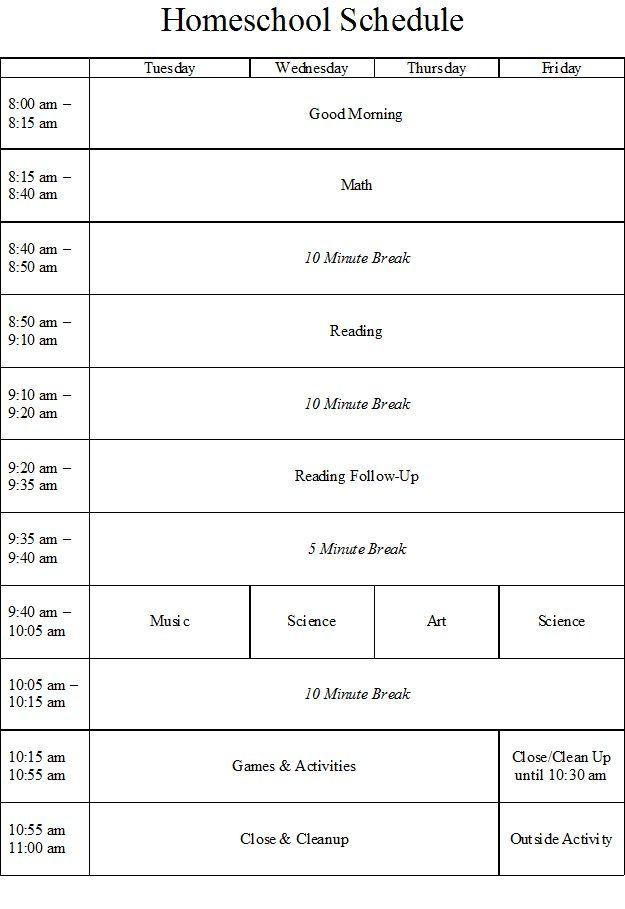 Homeschool Schedule With Ten Minute Breaks Homeschool