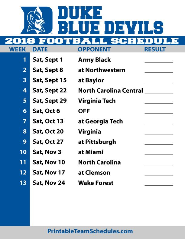 Image Result For Duke Football Printable Schedule For 2018