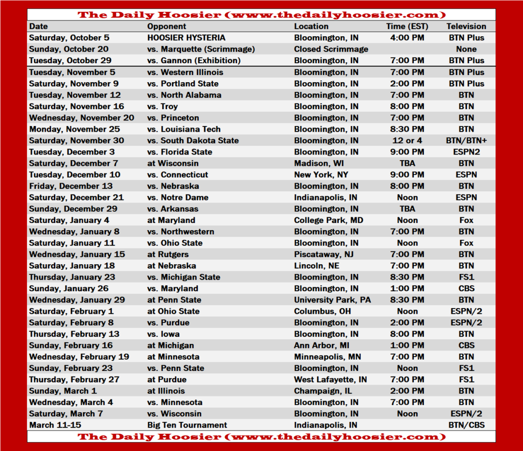Indiana Basketball 2019 20 Schedule TV Tip Times And