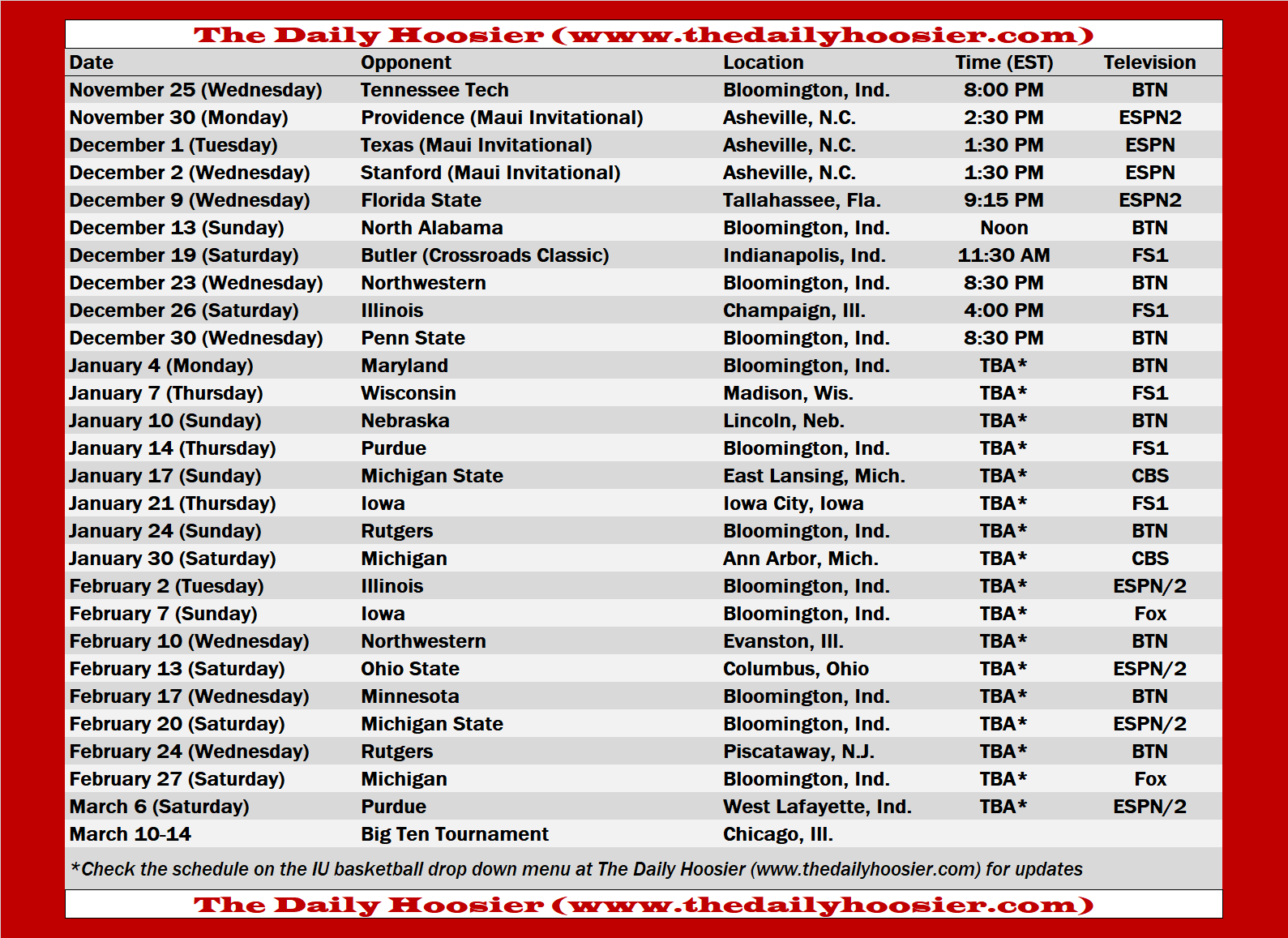 Indiana Basketball 2020 21 Schedule Page And Printable