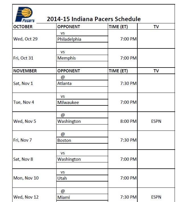Indiana Pacers PrinterFriendly