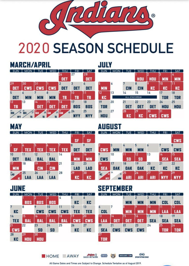 Indians 2020 Schedule Revealed Let S Go Tribe