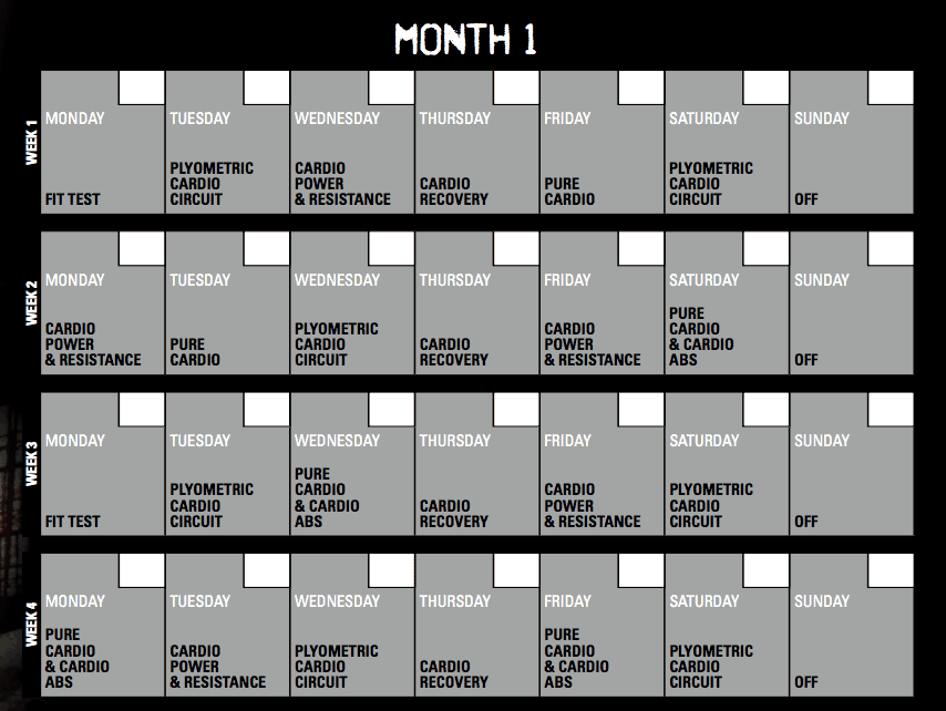 Insanity Calendar 60 Day Insanity Workout Schedule With