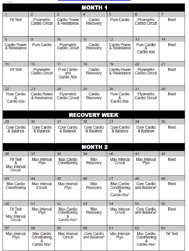 Insanity Workout Calendar Workout Calendar Insanity