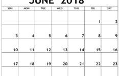 June 2018 Printable Calendar Calendar Yearly Printable