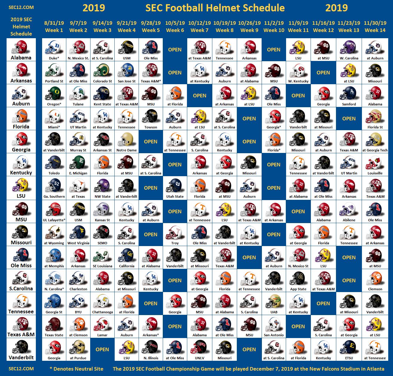 Just Saw The 2019 Helmet Schedule SECRant