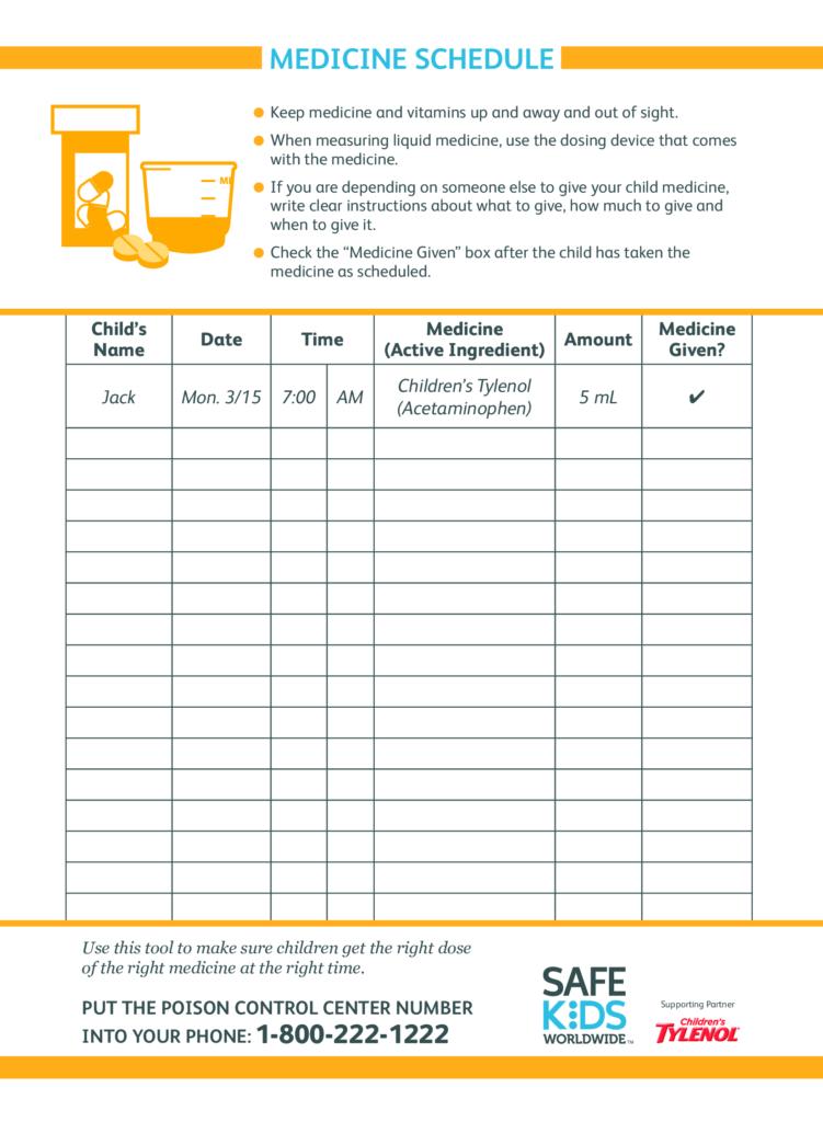 Kid S Medicine Schedule Templates At