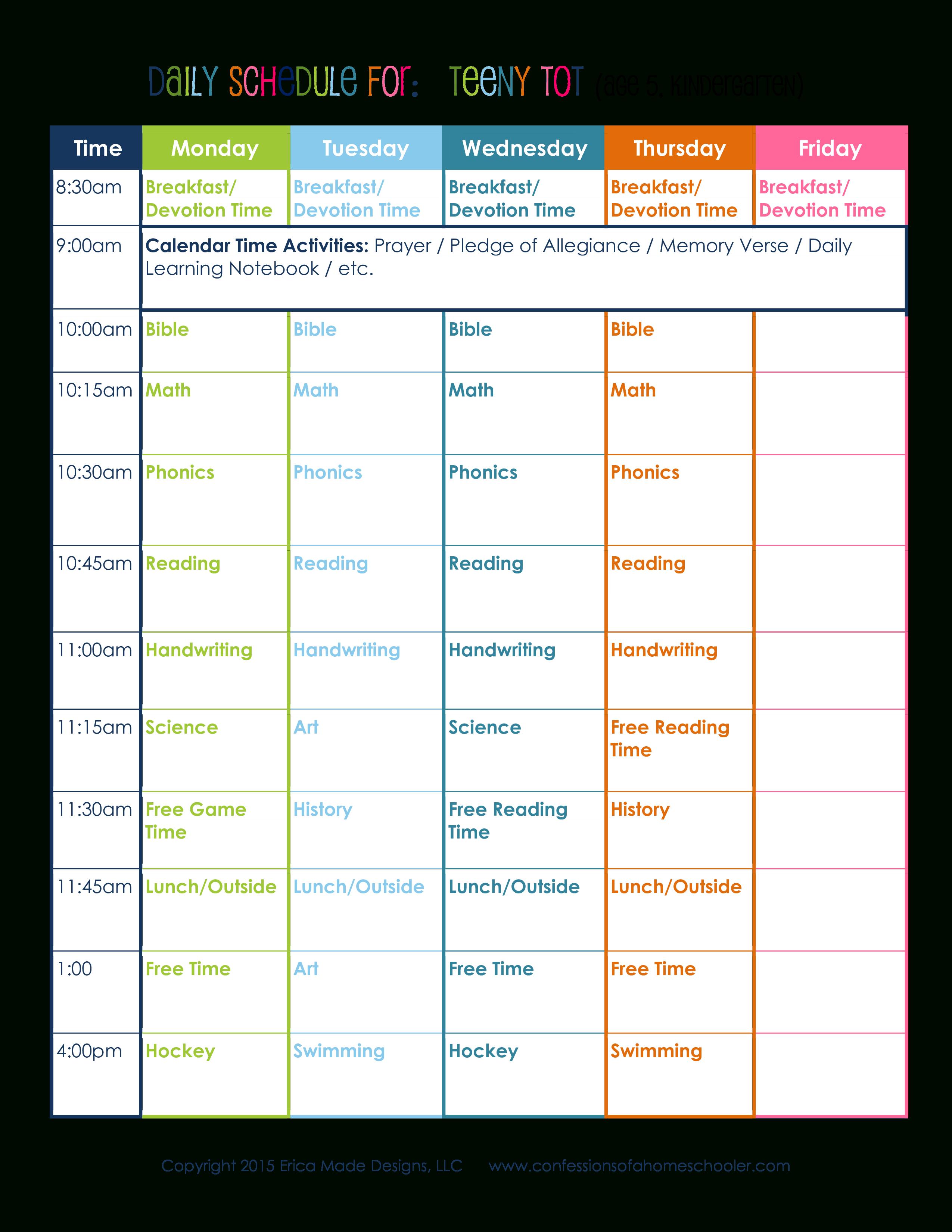 Kindergarten Homeschool Schedule Templates At