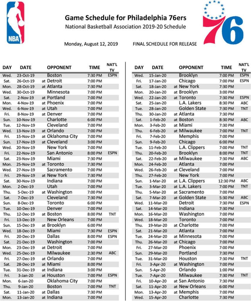 Lakers Printable Schedule 2019