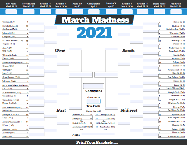 March Madness Printable Bracket For 2021 Printable And