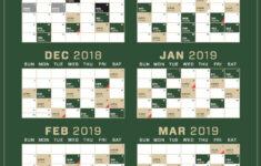 Bucks Schedule Printable