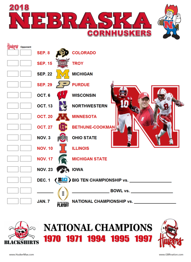 Nebraska Cornhuskers Football Schedule Examples And Forms