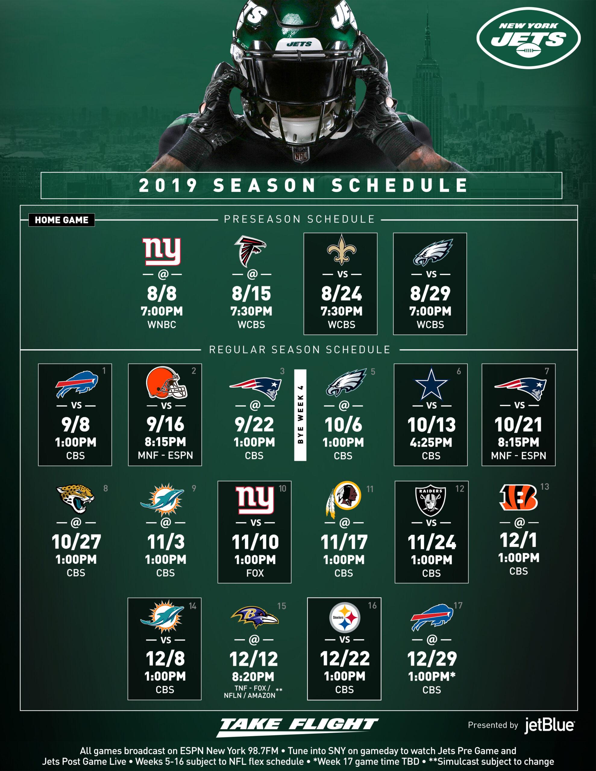 New York Jets Schedule