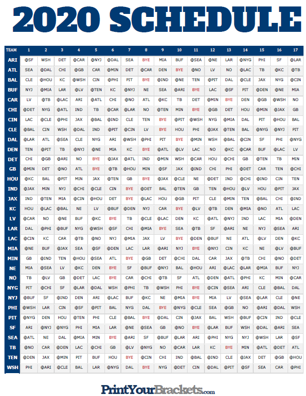 NFL Full Season Schedule Grid 2020 Printable