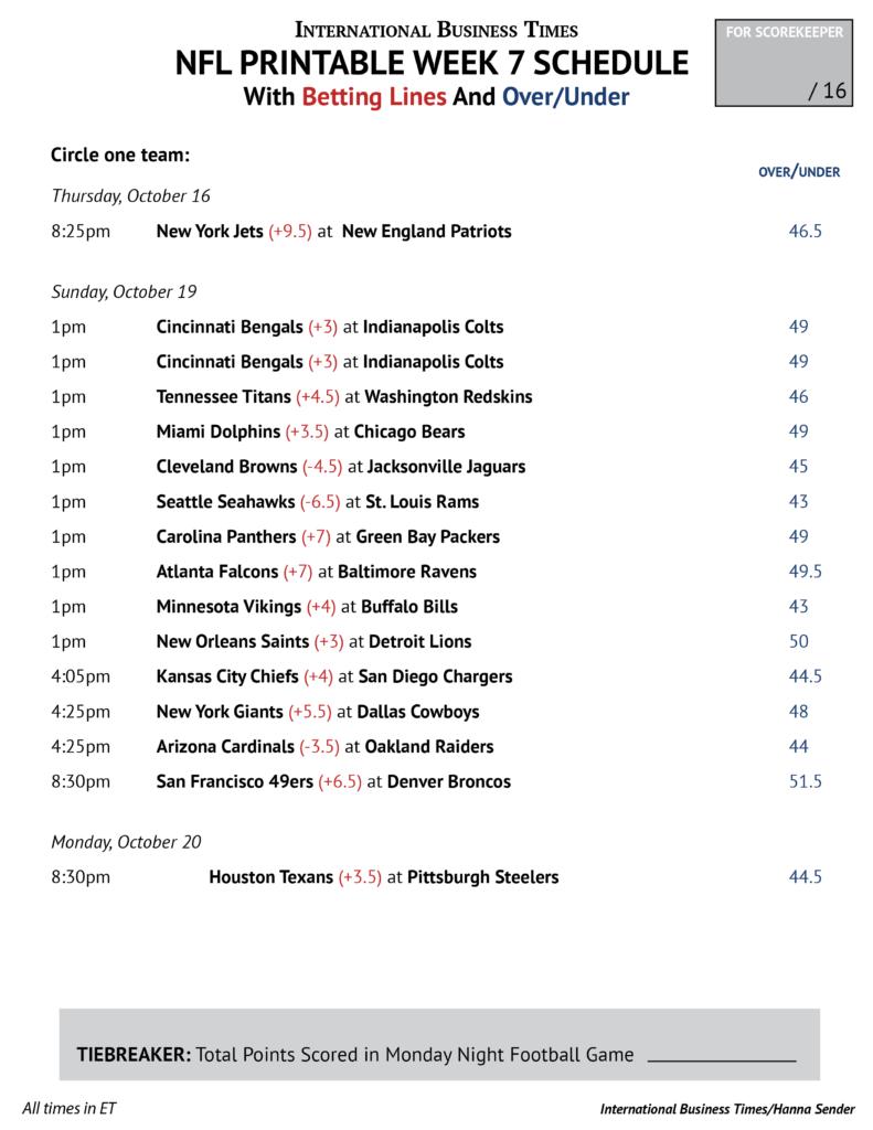 NFL Office Pool 2014 Printable Week 7 Schedule With