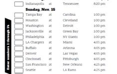 NFL Week 10 Confidence Pool Sheet 2020 Printable