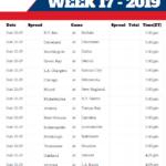 Nfl Week 17 Schedule Printable That Are Sweet Brad Website