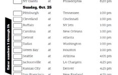 NFL Week 7 Confidence Pool Sheet 2020 Printable