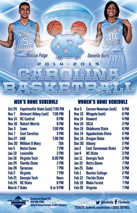 North Carolina Men s Women s Basketball Schedule Magnet