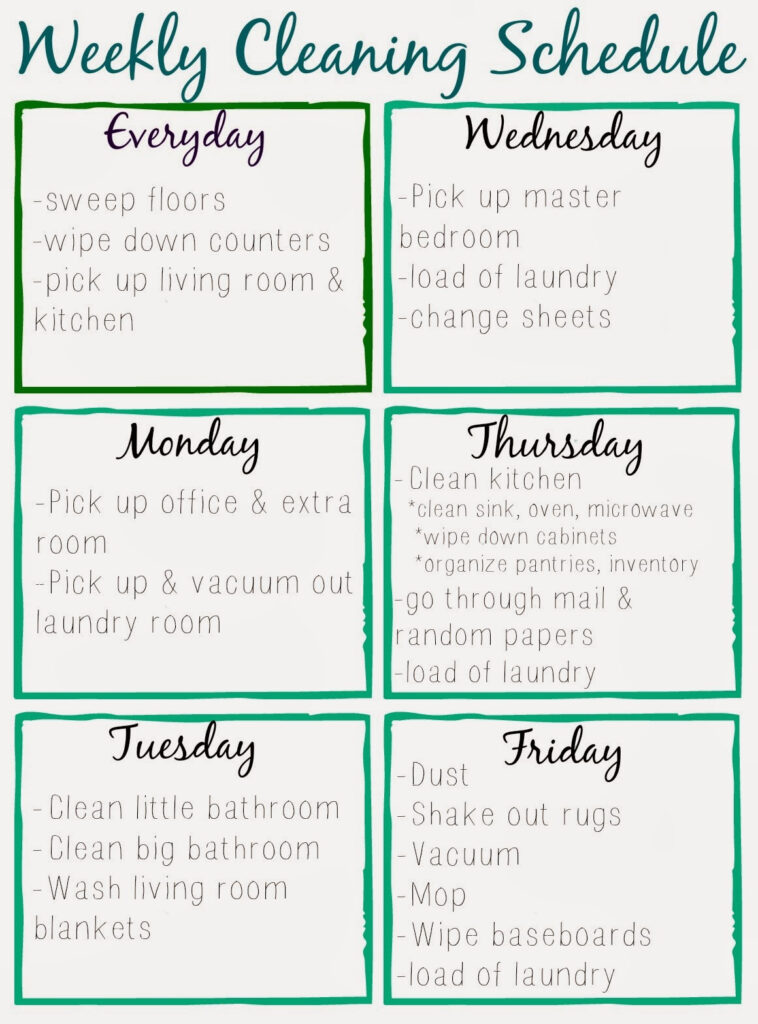 Orchard Girls Free Printable Cleaning Schedule