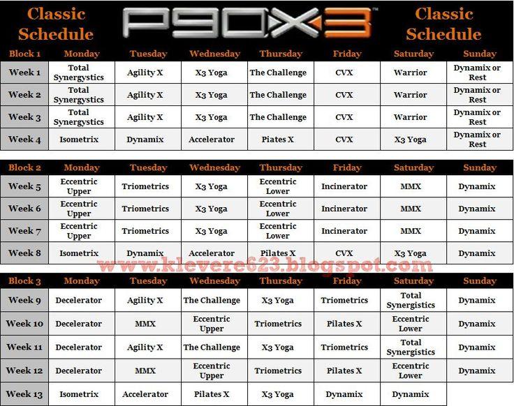 P90X3 Schedule And Calendar P90x3 Schedule P90x3