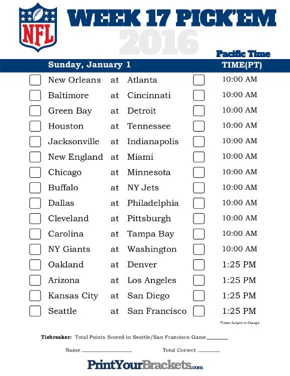 Pacific Time Week 17 NFL Schedule 2016 Printable