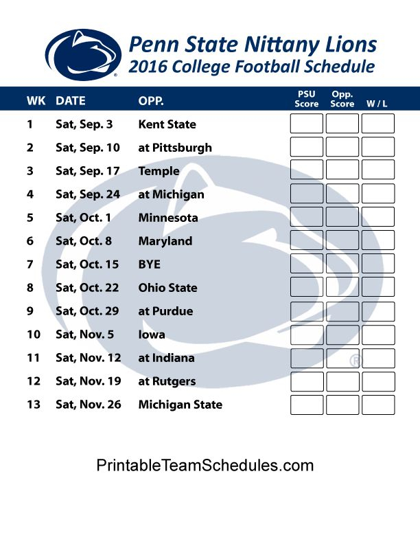 Penn State Nittany Lions Football Schedule 2016 Printable
