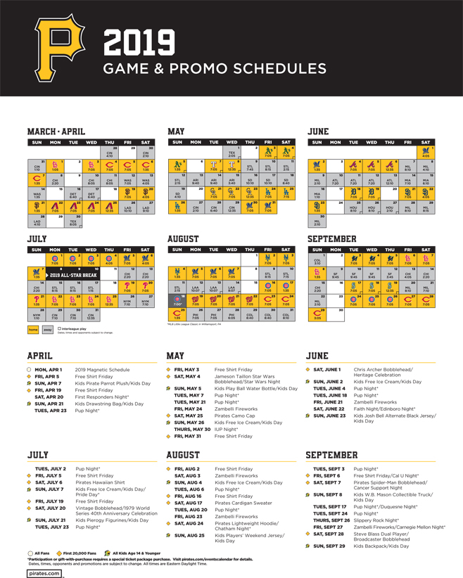 Pittsburgh Pirates Schedule 2019 Printable