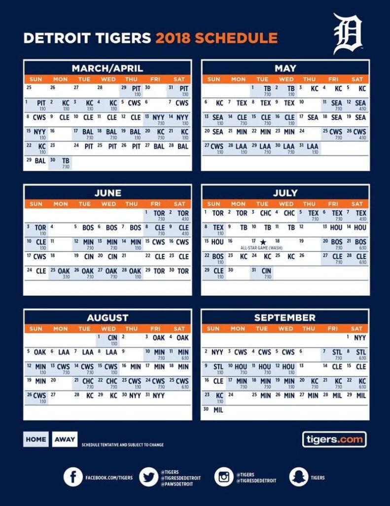 Playful Printable Detroit Tigers Schedule Clifton Blog